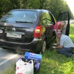Изношенное заднее колесо устояло на разбитых российских дорогах, но не выдержало движения с высокой скоростью по отличным финским автострадам