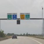 Предупреждение о пункте оплаты перед Оресундским проливом, дальше только одна дорога - на Данию